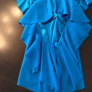 BEBE stunning Blue silk blouse XS